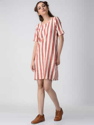 Ivory-Red Striped Handwoven Organic Khadi Dress