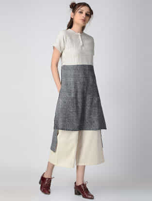White-Black Handwoven Organic Khadi Tunic with Asymmetrical Hem