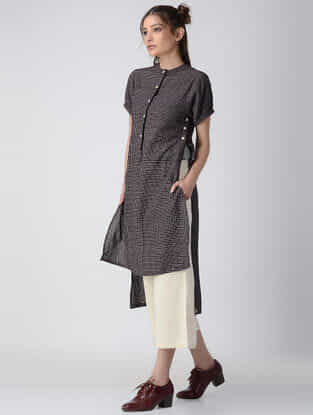 Black Checkered Handwoven Organic Khadi Tunic with Asymmetrical Hem