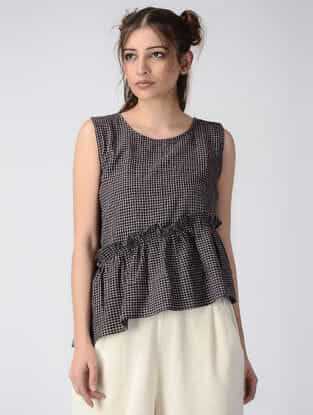 Black Checkered Handwoven Organic Khadi Top with Gathers