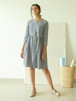 Black-White Dyed Handwoven Cotton Khadi Dress