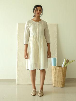 Ivory Dyed Handwoven Jamdani Muslin Dress