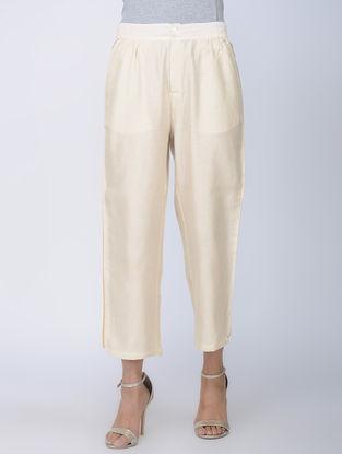 Ivory Handwoven Chanderi Silk Pants