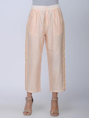 Beige Handwoven Chanderi Silk Pants