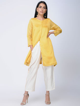 Yellow Handwoven Chanderi Silk Tunic