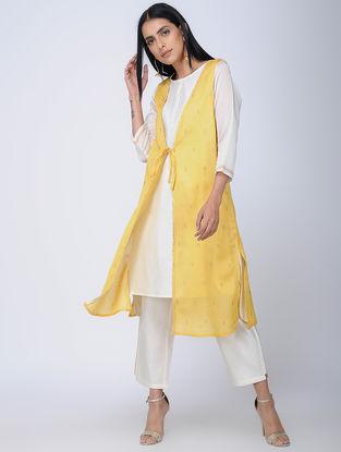 Yellow Handwoven Chanderi Silk Overlay