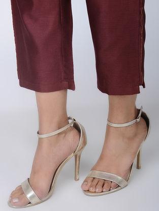 Wine Handwoven Chanderi Silk Pants