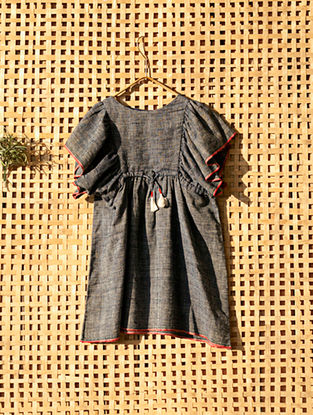 Blue Handcrafted Kimono Sleeves Cotton Dress