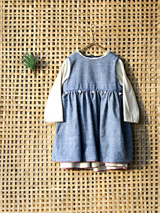 Blue Handcrafted Double Layered Striped Cotton Dress