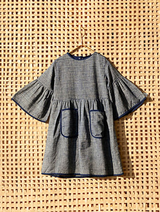 Blue Handcrafted Cotton Dress with Bell Sleeves