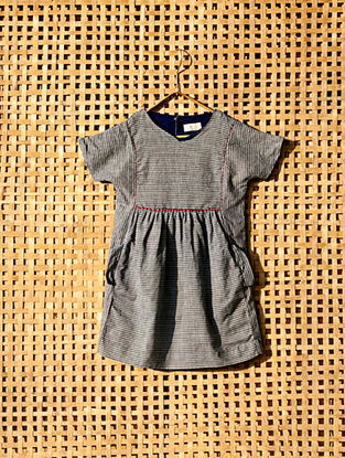 Blue Handcrafted Striped Cotton Dress