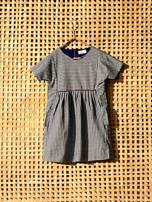 Blue Handcrafted Checkered Cotton Dress