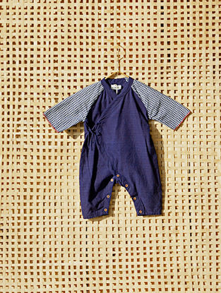 Blue Handcrafted Khadi Cotton Romper