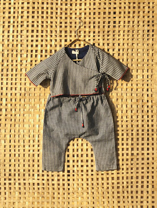 Blue Handcrafted Checkered Cotton Top with Pyjama ( Set of 2)