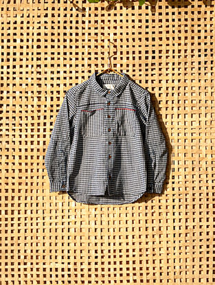 Blue Handcrafted Checkered Cotton Shirt