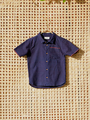 Navy Blue Handcrafted Cotton Shirt