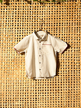 Ecru Handcrafted Cotton Shirt