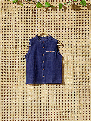 Blue Handcrafted Cotton Waistcoat