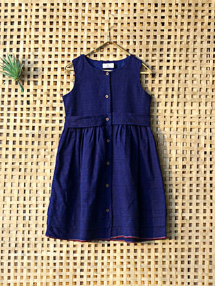 Blue Handcrafted Cotton Dress with Belt