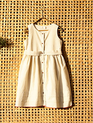 Ecru Handcrafted Cotton Dress with Belt