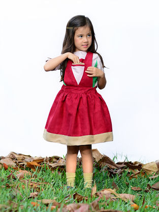Maroon Pinafore Dress