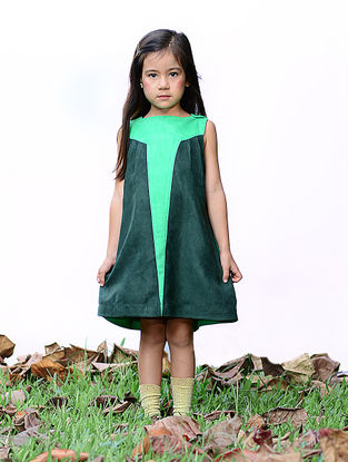 Green Panelled Dress with Shoulder Opening