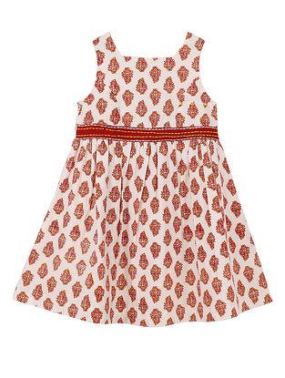 Red Buti Print Cotton Dress