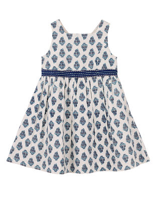 Blue Buti Print Cotton Dress