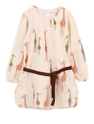 Beige Giraffe Print Cotton Dress
