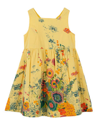 Yellow Floral Print Cotton Dress