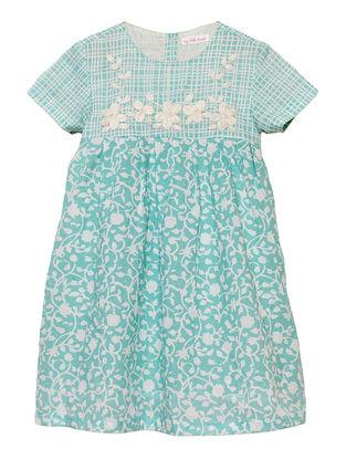 Blue Floral Print Cotton Dress