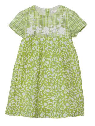 Green Floral Print Cotton Dress