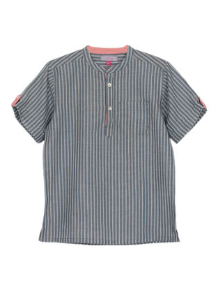 Grey Striped Cotton Kurta Shirt