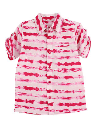White-Pink Tie and Dye Striped Cotton Shirt