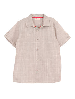 Grey Checkered Cotton Shirt