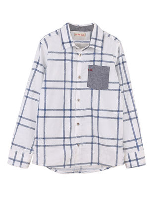 White-Blue Checkered Cotton Shirt