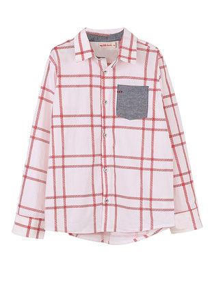 White-Red Checkered Cotton Shirt