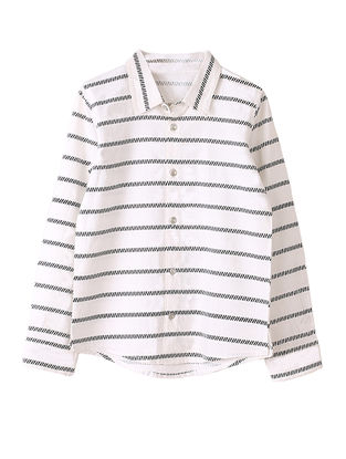 White-Black Striped Cotton Shirt