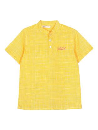 Yellow Checkered Cotton Kurta Shirt