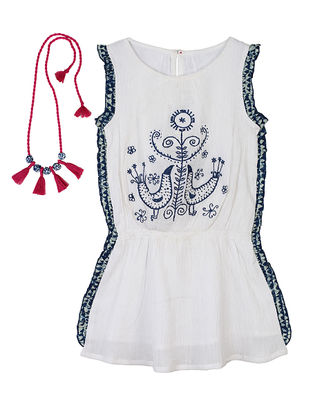 Ivory-Indigo Tribal Embroidered Cotton Dress with Handcrafted Necklace