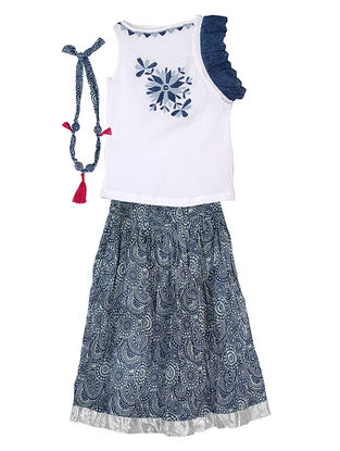 Ivory-Indigo Cotton Top-Skirt with Handcrafted Necklace