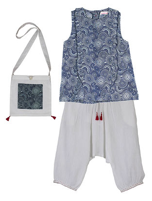 Indigo Printed Cotton Top with Ivory Cotton Bottom and Jhola Bag