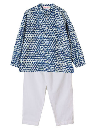 Indigo Printed Cotton Kurta with Ivory Pyjama