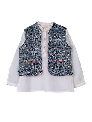 Ivory-Indigo Hand-embroidered Cotton Kurta with Printed Reversible Jacket