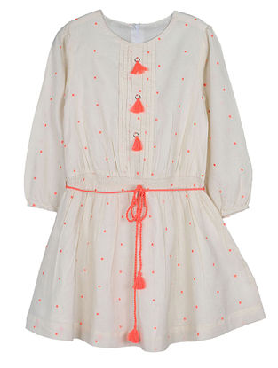 Beige Embroidered Cotton Dress with String Belt and Tassels