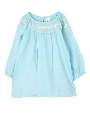 Blue Embroidered Raglan Sleeve Cotton Top with Lace