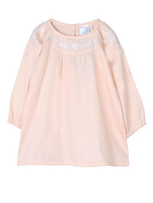 Pink Embroidered Raglan Sleeve Cotton Top with Lace