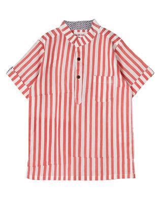 Pink Block-Printed Striped Cotton Kurta Shirt