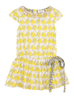 Yellow-Cream Printed Cotton Dress