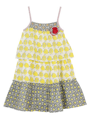 Yellow-Grey Printed Cotton Dress
